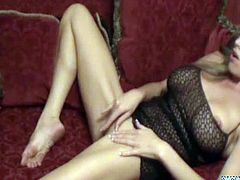 Mia is your lovely blonde MILF who sometimes loves to get alone to have a sexy time with herself, as she loves to caress her fine pussy and starts drilling it with her dildo.