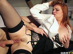 Redhead milf Tara is getting fucked hard by her man in their hidden sex dungeon. She rides his cock and he loves it, as she bounces up and down on him. The redheaded whore takes it deep from behind and gives a splendid blowjob.