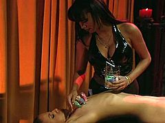 Non-stop torturing and furious extreme spanking with lesbian mistress as she takes over and enjoys brunette slave hot body.