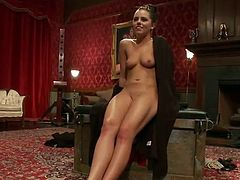 Constrained Up chocolate haired girl has got laid Rough in Private Club