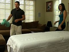 Sadie found Johnny to be a great masseur, so she contacted him and went by his place. His skills were so appreciated because he also fucks his hot clients.