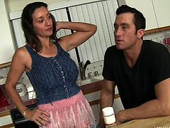 If you are fond of hot seductive moms, add Persia to the crazy milfs collection! The brunette lady is so kind to the shy guest and wanna warm up the atmosphere, that she undresses, and generously shows him the boobs. Click to see the busty bitch seducing the guy and getting on the couch, to suck his cock.