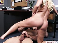 Aaliyah Love with round butt and clean snatch warms Johnny Castle up and takes his meat pole