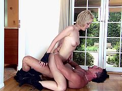 A muscular stud pounds Kimberly Kane doggystyle then cums in her mouth