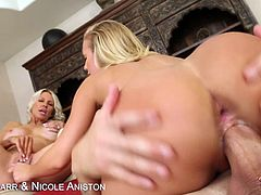 Emma Starr and Nicole Aniston have an incredibly hot fuck fest together and a guy. They use a toy for when his dick is busy pounding pussy and suck on each others nipples too.