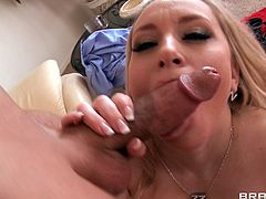 Nasty Blonde in High Heels plays with massive cock then gives it cute Blowjob and Titjob before her Hairy Pussy bonked Doggystyle