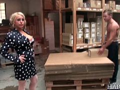 Blonde factory worker Natalie Heck checks up on her warehouse workers, this horny slut soon has all 4 mens cocks in all her holes. What a way to get a promotion!