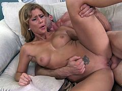 Brooklyn Lee is a kind of girl he can't resist she swallows his cock and then gets naked to ride him with passion, She enjoys his dick in her pussy deeply and roughly.