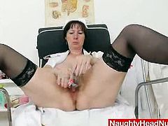 Naughty Head Nurses brings you a hell of a free porn video where you can see how this wild brunette mature dildos her cunt for you while assuming hot positions.