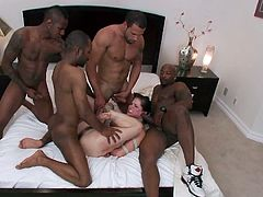 Visit official Bound Gangbangs's HomepageSleazy babe takes on several cocks during rough gangbang fuck which gets her to scream like a dirty slut