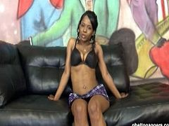 Moesha's first time in Ghetto Gaggers and here she is in for a nasty treat as she haven't done a hardcore blowjob especially deepthroats but is ready to get down and dirty.