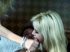 A FFM threesome where two babes throat then ride his fat cock