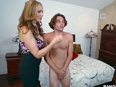 Julia Ann catches her step-son spying on sexy sexy maid Abby Lee sexy. She asks obedient brunette to take off her uniform and take his hard dick in her mouth. She gives his cock a try too!