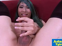 Solo masturbation and toy action with chinese tgirl in stockings Lila Kay