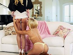 Jazy and Carmen have just come home after a long day of shopping and now, the sexy blonde lesbians want to have some fun. They kiss each other and soon, one of the sluts has her legs wide open for cunilingus. They takes turns eating snatch.