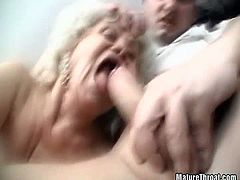 Watch these hairy blonde grannies do a threesome fuck with a young man. They take turns sucking on his cock while they go down on each other's pussies