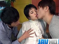 Checkout this cute Japanese brunette babe Sakura Aida sucking and fucking two eager cocks in her wet hairy pussy. This insolent japanese beauty gets ready to fuck with two guys. Watch how she moans in pleasure when she gets her pussy filled with warm cum.