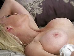 horny cowgirl with fake tits getting her shaved pussy smashed hardcore til the horny guy cums in her mouth and she swallows