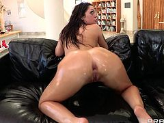 Curvy brunette in bikini showcase her oiled hot ass before giving her guy blowjob and getting her anal smashed hardcore doggystyle