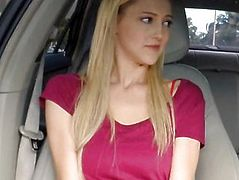 Big natural tits blondie teen Mila Evans drilled in the car