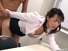 Hot mature Asian office lady gets pussy licked and fucked