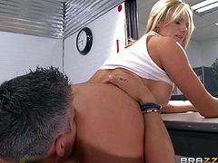 Fair-haired babe Zoey Holiday is the bustiest woman in prison. She pulls out her juggs to turn man one and sucks his cock like crazyl Then hot woman gives titjob he wont soon forget!