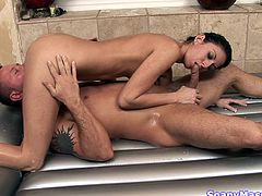 nikki spoils her partner with a soapy massage