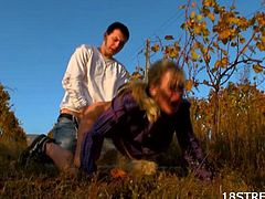 Checkout this sexy blonde teen babe in the forest with her boyfriend.See how this sexy blonde teen getting her tight cunt fucked hard in doggy-style till he cums on her.
