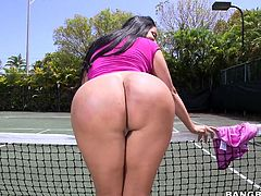 What could be more exciting than a sexy Latina pretending to play tennis on the field on a sunny day? It's so hot, that the lovely brunette undresses and shows off her amazing big tits and crazy ass in public without any shame. Click to watch slutty Kiara sucking her partner's cock.