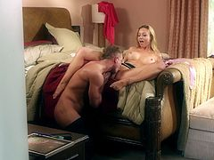 Kinky blonde with big pretty tits enjoying an awesome anal fuck on her bed