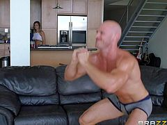 Teen cutie Keisha Grey cant hide her big natural tits under her tiny t-shirt as well as Johnny Sins cant hide his big cock in his pants. She gets down on her knees to take his pistol in her hot mouth.