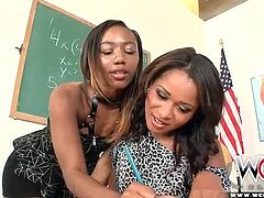 Ebony lesbian video with tender kissing