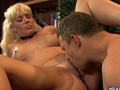 Let's see what fun these hot couple gets into. The mature blonde spreads her thighs so, he can stick his face in her wet cunt and eat her pussy lips. She is so wet and horny, so she gets down on her knees and gobbles on his thick knob like a slut. She rides him reverse cowgirl style.