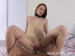 Flirtatious bimbo with a piercing ball licking before giving a steamy blowjob in a reality shoot