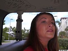 Cute brunette Giaoni Whiley in red t-shirt and sexy blue jean shorts gets a ride on Bang Bus, This shy looking girl is not that innocent as it may seem. She gets interviewed and then does dirty things!