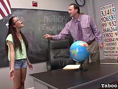 The geography teacher in for some fun today, as one of his young students and his sexy coworker team up, to get him off. The sexy young student sucks on the male teacher's hard cock, while he sucks on the female teacher's perky nipples.