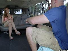 Juicy pale skinned amateur girl Molly Jane shows nothing but her sexy legs until she takes off her tight shorts and tiny t-shirt. This shy looking Bang Bus girl is ready to do wild things !