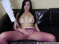 He presses down hard on her clit, which get her really nice and horny. She firmly grabs his rock hard cock, when she is under his power and gives him a handjob. All this time she rubs her cunt through her pink pantyhose.