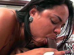 Brazilian babe takes a big black cock up her tight ass like a pro.