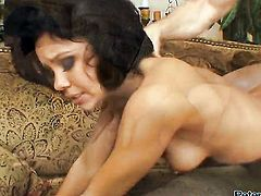 Ultra hot minx Ruby Knox shows her beaver to lucky dude before he fucks her beaver