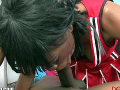 Nasty ebony loves fulfilling her boyfriend's fantasy by dressing up as a cheerleader and proceeds for a hardcore fuck in his house. She got jizzed all over her face at the end.