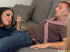 Simone Sonay and Keiran Lee has a hard time lately as he caught his cuckold wife cheating again. So she begged him not to leave her and brought sexy slut Kimberly Kendall to fix up their sexual relations...