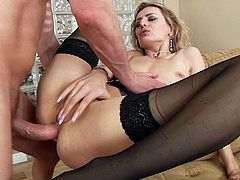 Delectable pornstar in sexy stockings moans while getting pounded hardcore anal