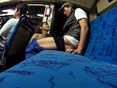 This sexy brunette slut couldn't wait to get home to suck on her man's cock. She had to get his cream while she was still on the train. She slobbers all over his dick and he was dripping cum all over her sexy lips.