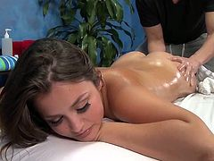 Sexy 18 year mature brunette Allie has fucked hard from backside by her massage therapist