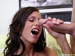 Skinny white guy Jesse Jones seduces dingy airheaded college school girl slut Whitney Westgate with his rock hard cock in her very inviting mouth. She slobbers on his thick tube steak and then gets her tight, wet pussy licked with lust.