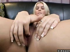 Blonde Kodi Gamble shows oral sex tricks to hot blooded man with passion