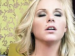 Blonde Barbie White gets her mouth stretched by guys sturdy meat pole