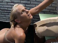 Blonde with gigantic breasts enjoys another lesbian sex session with her lover Mandy Bright
