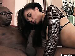 Annie Cruz gets a good hard fucking in interracial porn action with hot guy